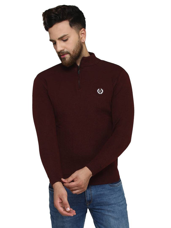 Solid Maroon Synthetic Long Sleeves Turtle Neck Sweaters