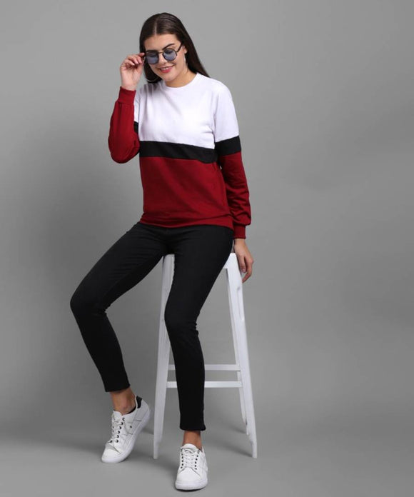Vivient Women White Maroon Black Plain Pulover
