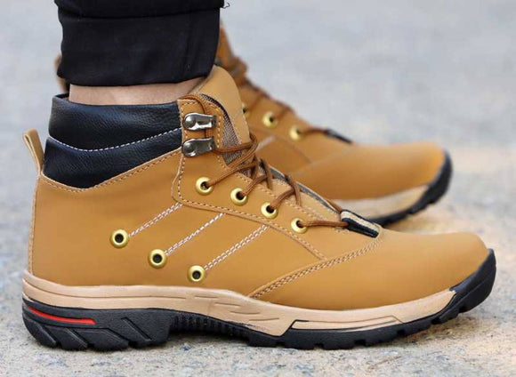 Men's Stylish and Trendy Tan Solid Synthetic Leather Casual Flat Boots