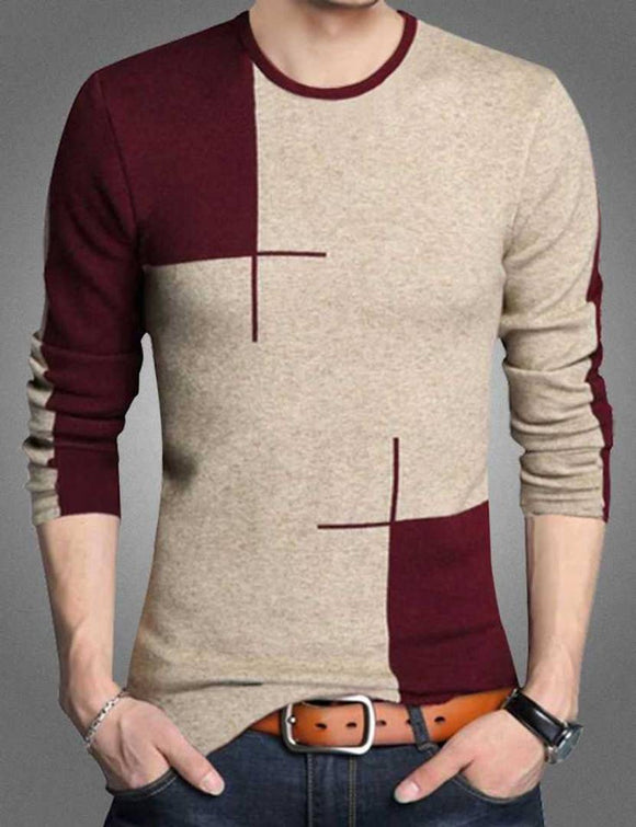 Men's Multicoloured Cotton Blend Colourblocked Round Neck Tees