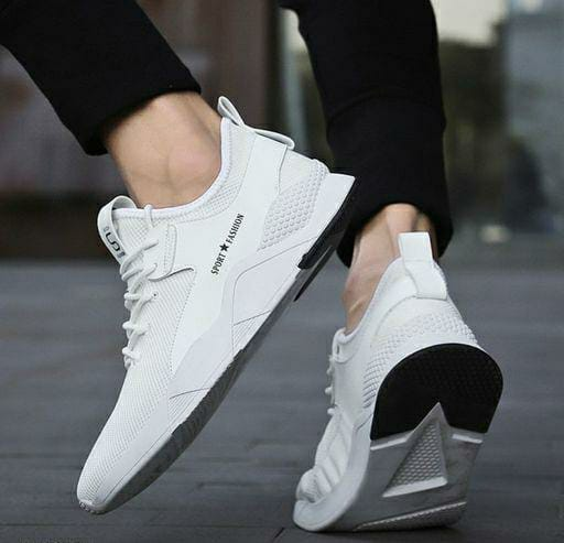 Ultra Light White Breathable Sports Sneakers For Men