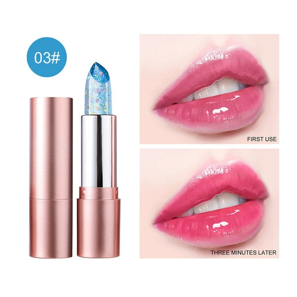 6 color crystal jelly lip balm temperature changing lip balm moisturizes and moisturizes for a long period of shine