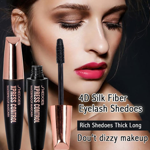 4D fiber eyelash mascara waterproof durable dry quick natural black roll