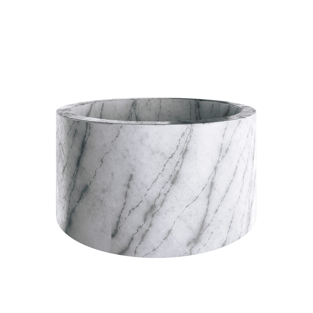 Solid Round Natural Marble White Bathtub