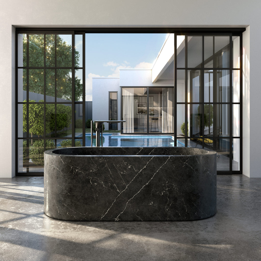 Black Solid Marble Bathtub