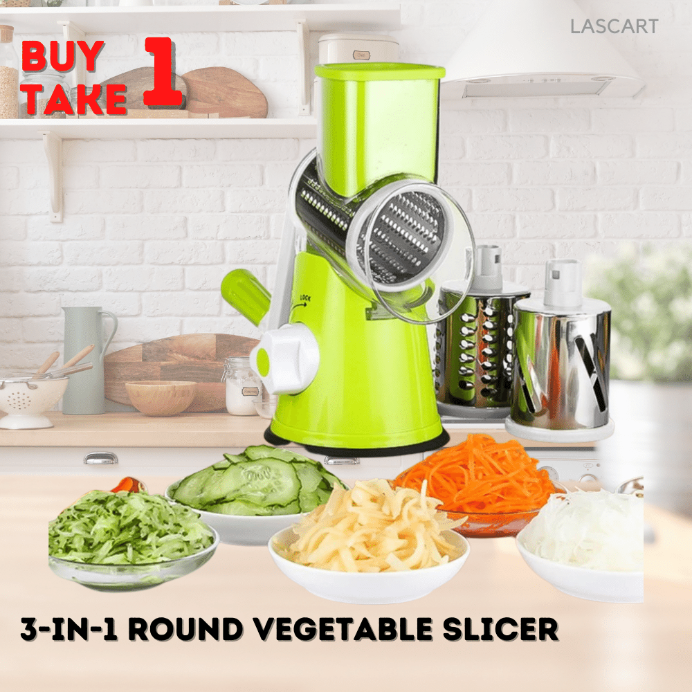 3 In 1 Round Vegetable Cutter Potato Multi Slicer Cheese Grater Chopper
