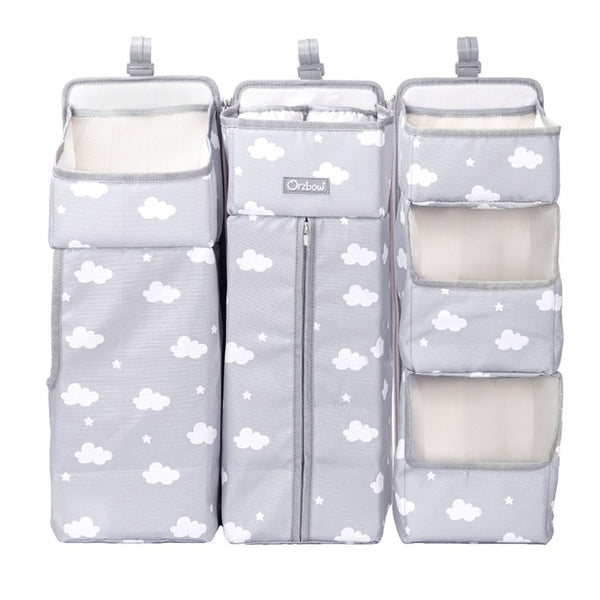 Baby Bed Organizer Hanging Bag - Crib Diaper Storage Bag