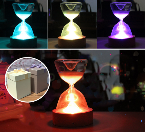 Timed colourful hourglass with sleeping remote light - Gifts and Gadgets