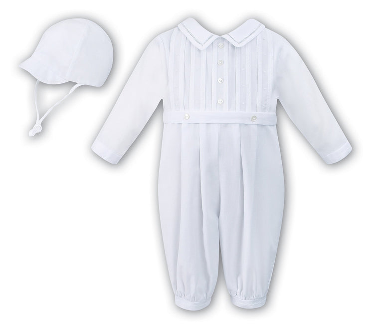 Sarah Louise Boys White long sleeve Christening Romper 010445