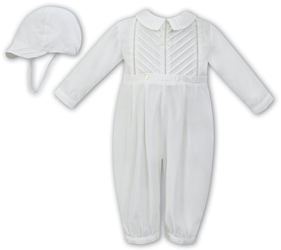 Sarah Louise 011250 Boys White Long Sleeved Christening Romper and Cap