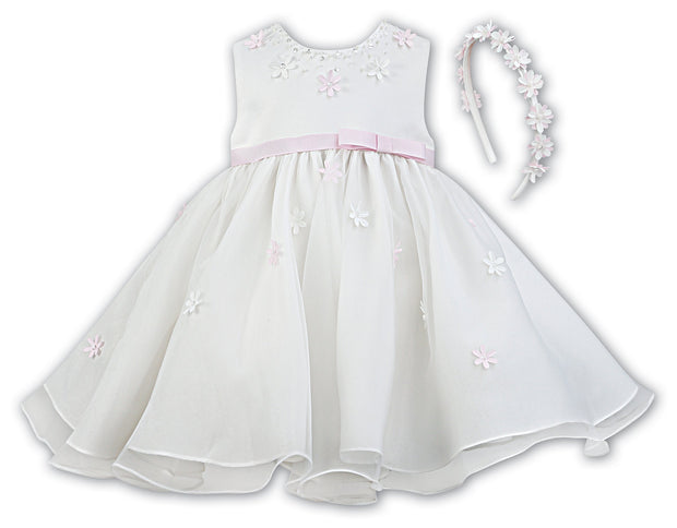 Sarah Louise Ivory/Pink Christening / Special Occasion Dress & Headband 070054