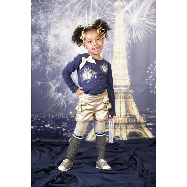 A Dee Alice Gold & Navy Sparkly Tights W174926 - Socks & Tights