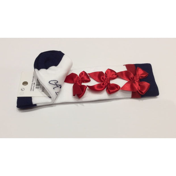 A Dee Ashley Knee High White Socks With Red Bows S184919 - Socks