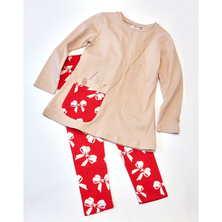 A Dee Netty Red Bow Gold Tunic Set W173524 - Tunic Set