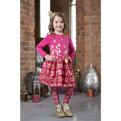 A Dee Pink Princess Gold Leaf Hot Pink Debbie Dress W181710 - Dress
