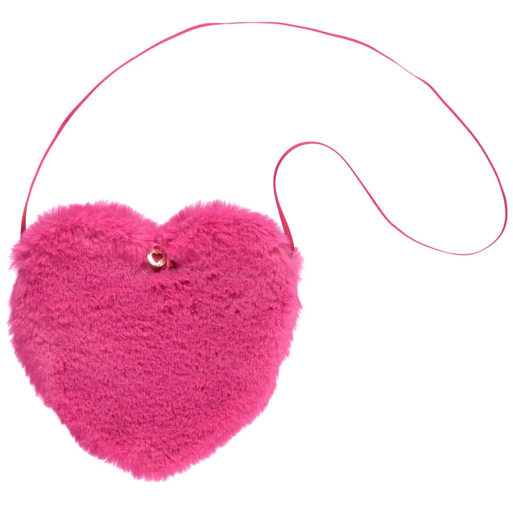 A Dee Pink Princess Hot Pink Faux Fur Heart Shaped Bag Angie W181912 - Bags