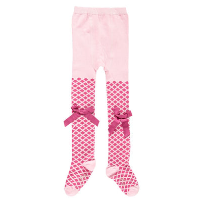 A Dee Pink Princess Jaquard Pink Bow Tights Ashley W181917 - Tights
