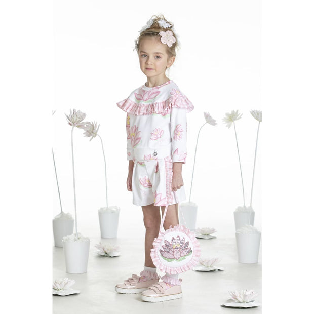 A Dee Waterlily Love White/pink Shorts Set Nisha - Outfits & Sets