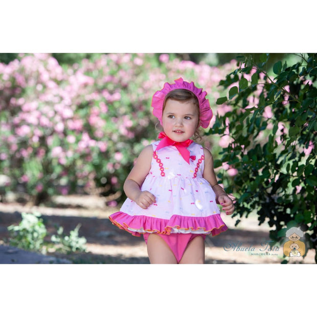 Abuela Tata SS19 Pink Dress Knickers & Bonnet Outfit - Dresses