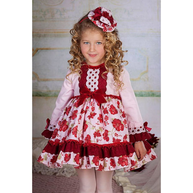 Bea Cadillac Aw18 Hermione Pink & Cherry Red Dress 18882 - Dress