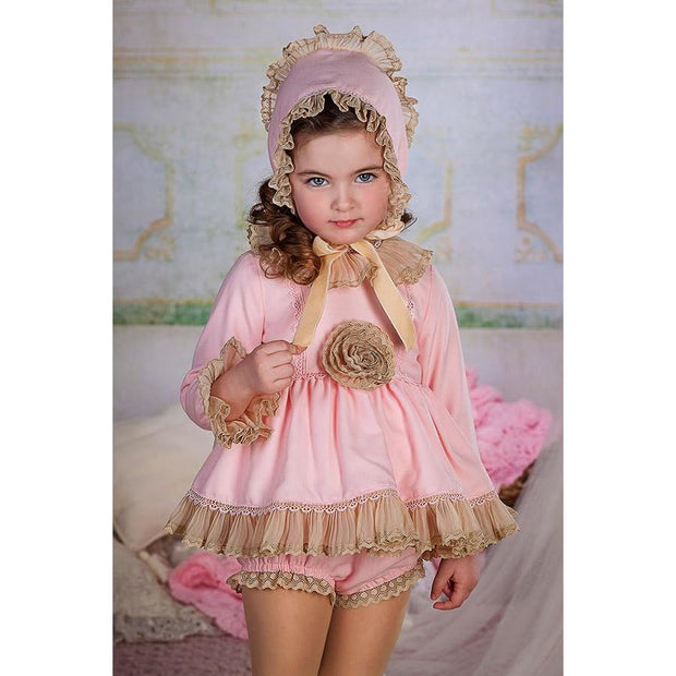 Bea Cadillac Lily Pink & Beige Short Dress & Knickers Outfit 18860 - Dress