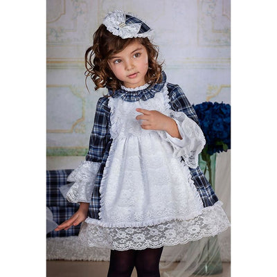 Bea Cadillac Luna Blue Navy Plaid & White Lace Dress 18852 - Dress