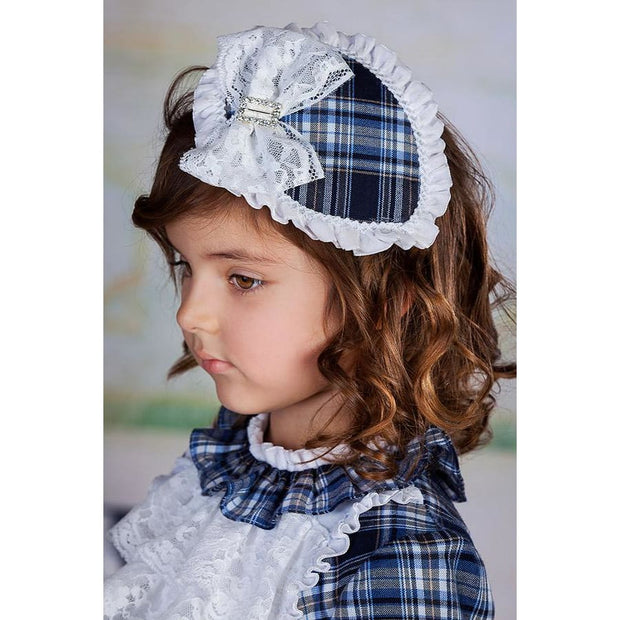 Bea Cadillac Luna Navy Plaid Lace & Diamante Headband 18855 - Headband
