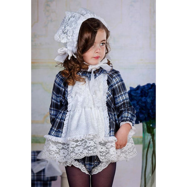 Bea Cadillac Luna Navy Plaid & Lace Short Dress & Knickers Outfit 18850 - Dress