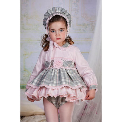 Bea Cadillac Minerva Grey Plaid Tartan Dress & Knickers Outfit 18820 - Dress