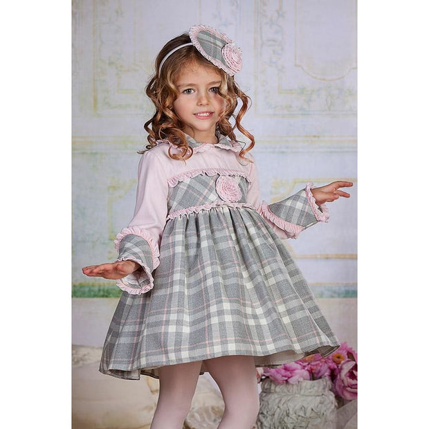 Bea Cadillac Minerva Pink & Grey Plaid Tartan Dress 18822 - Dress