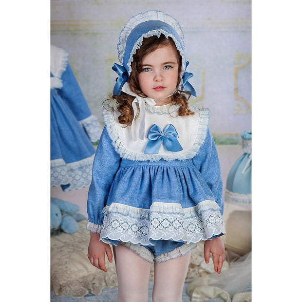 Bea Cadillac Petunia Blue & White Short Dress & Knickers Outfit 18810 - Dress