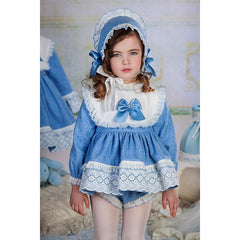 Bea Cadillac Petunia Blue & white Short Dress & Knickers Outfit 18810