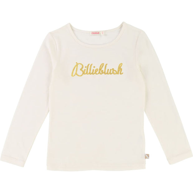 Billieblush Cream & Gold Billieblush Logo T-Shirt U15526 - T-Shirt