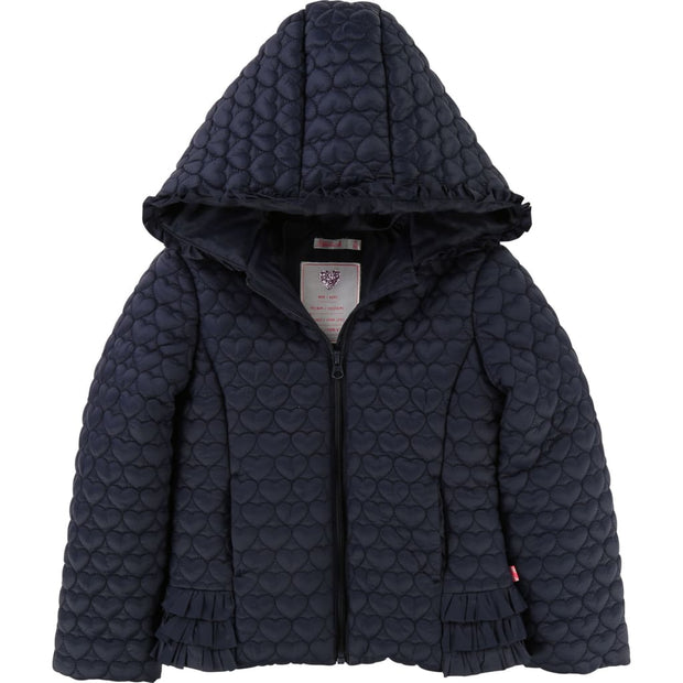 Billieblush Navy Hearts Quilted Hooded Jacket U16183 - Coat