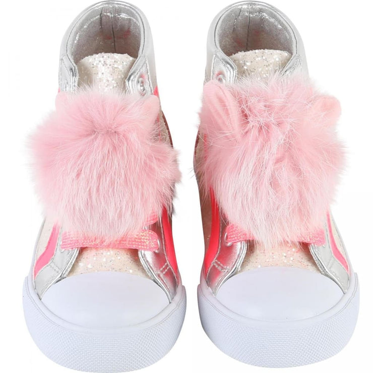 Billieblush Pink & Silver Sneakers Hi Tops U19131 - Shoes