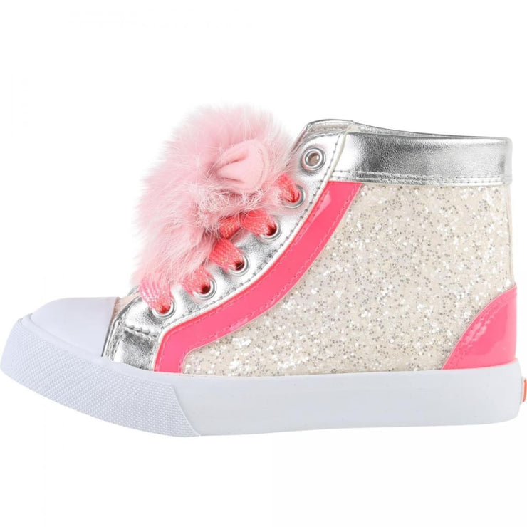e1cbfb8dce0a Billieblush Pink   Silver Sneakers Hi Tops U19131 – Just Kidding ...