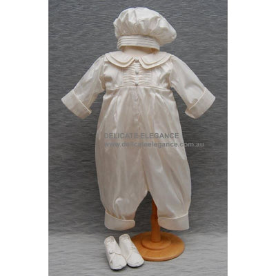 Delicate Elegance Boys Silk Christening Romper Hat & Bootees 4270 - Christening Rompers