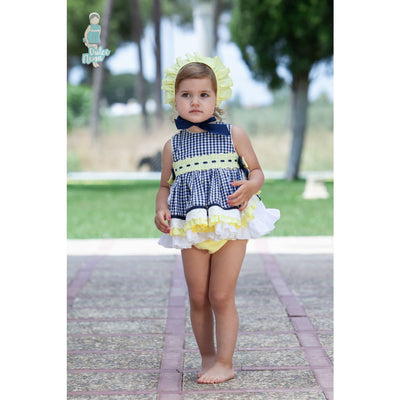 Dulce Nena SS19 Navy Yellow Dress Knickers & Bonnet Outfit - Dresses