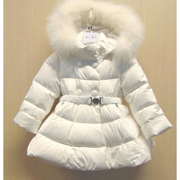 Elsy Girls White Down Filled Double Breasted Coat - Coat