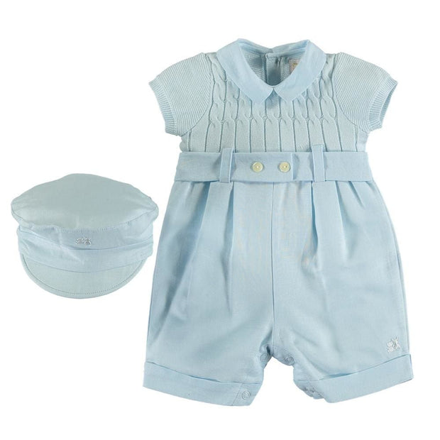 Emile Et Rose Gerald Boys Fine Knit All In One Romper Blue - Romper