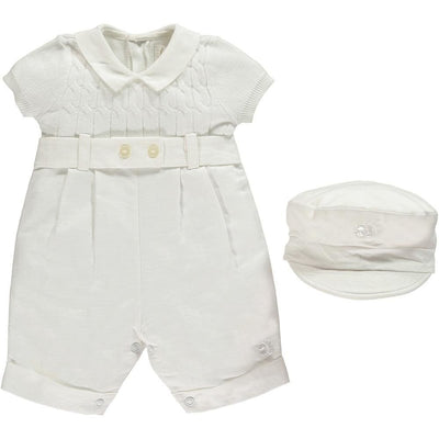 Emile Et Rose Gerald Boys Fine Knit All In One Romper White - Romper