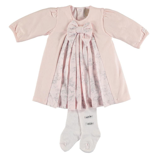 Emile Et Rose Jessica Pink & Grey Dress & Tights Set - Baby Dress