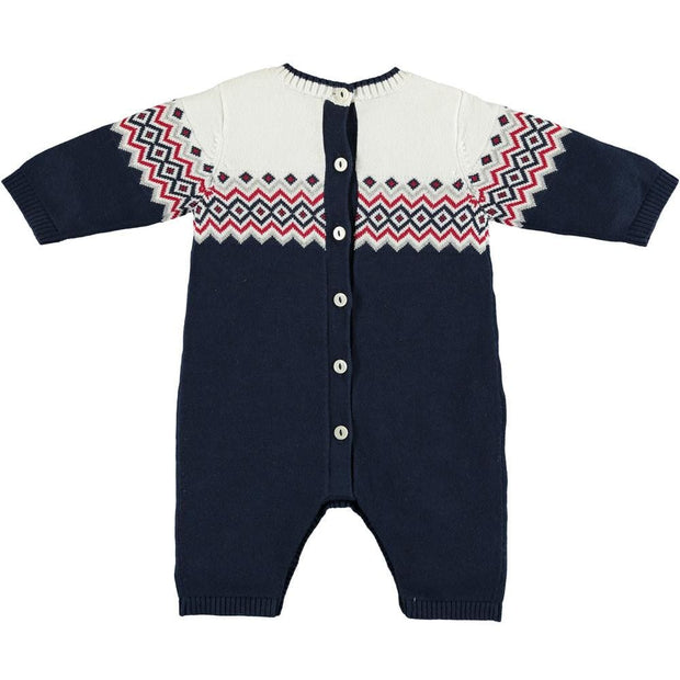 Emile Et Rose Jimmy Navy Knitted Babygrow & Hat Set - Babysuit