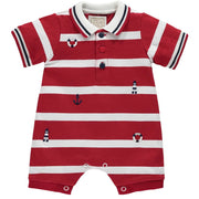 Emile Et Rose Keanu Boys Red Striped Romper - Romper