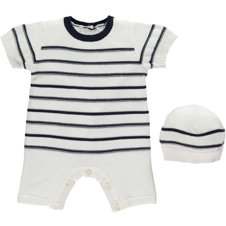 Emile Et Rose Kendrick Boys Navy Fine Knit Striped Romper - Romper