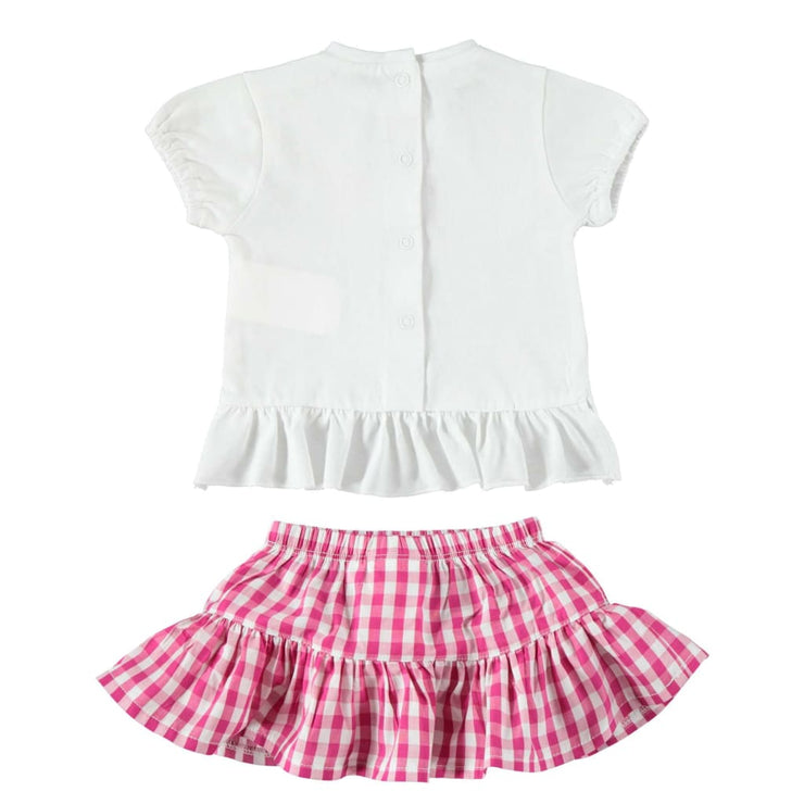 iDO Baby Girls White Fuschia Pink Outfit W642 - Babysuits
