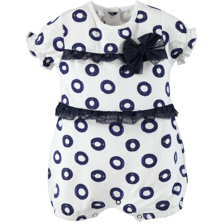 iDO Baby Girls White Navy Shortall Romper W651 - Babysuits