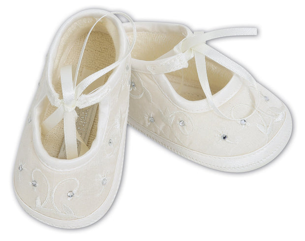 Sarah Louise Ivory Diamante Christening Shoes 004410