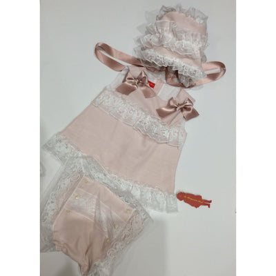 La Marquesita Real Mi Marquesita Jesusito Dress Bonnet & Panties - Baby Dress