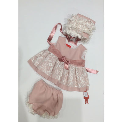 La Marquesita Real Rosas De Ensueno Jesusito Dress Bonnet & Panties - Baby Dress